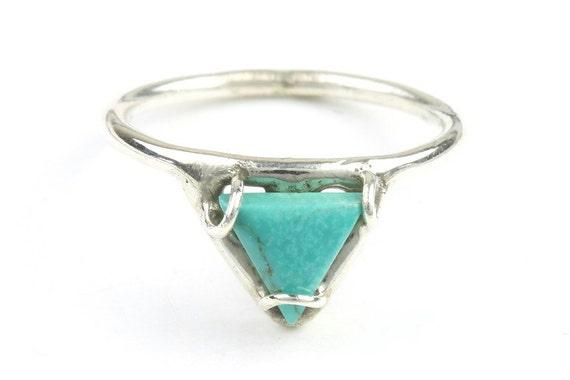 Bermuda Triangle Ring, Sterling Silver Turquoise Ring, Stone Jewelry, Gemstone, Southwestern, Boho, Gypsy, Minimalist, Spiritual, Modern