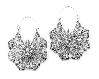 Mandala Brass Earrings, Silver Mandalas, Flower Earrings, Tribal Brass Earrings,  Festival Earrings, Gypsy Earrings, Ethnic Earrings