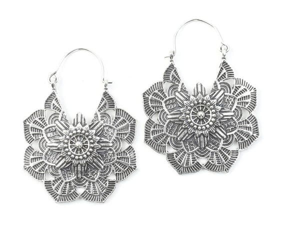 Mandala Brass Earrings, Silver Mandalas, Flower Earrings, Tribal Brass Earrings,  Festival Earrings, Gypsy Earrings, Ethnic Earrings