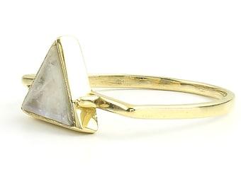 Enlightened brass Ring, Moonstone Ring, Triangle ring,  Stone Jewelry, Cosmic, Gemstone, Boho, Gypsy, Wiccan, Hippie, Spiritual