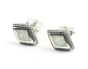 Opal Sterling Silver Earrings, Opal Stud Earrings, Small Diamond Earrings, Boho, Lab Opal Earrings, Gypsy, Ethnic Earrings