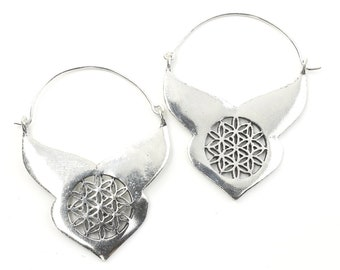 Flower Of Life Earrings, Sacred Geometry, Geometric Earrings, Alchemy Earrings, Modern Earrings, Festival, Gypsy Earrings, Ethnic,