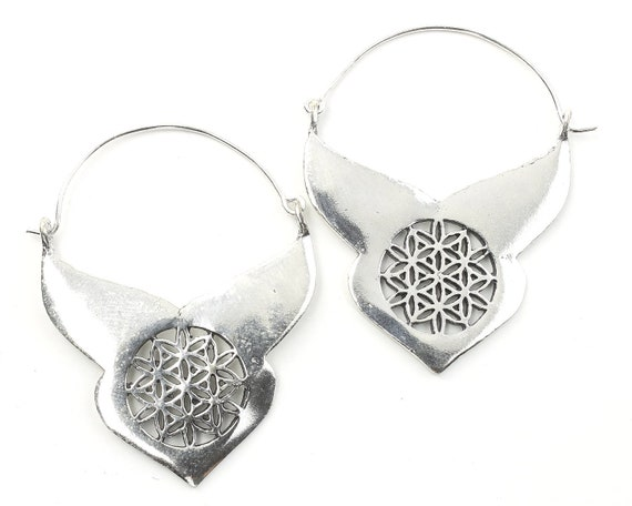 Flower Of Life Earrings, Sacred Geometry, Geometric Earrings, Alchemy Earrings, Modern Earrings, Festival, Gypsy Earrings, Ethnic,