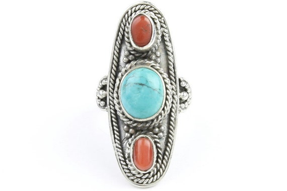 Nature Spirit Ring, Sterling Silver Turquoise Ring, Red Coral, Stone Jewelry, Southwestern, Gemstone, Boho, Gypsy