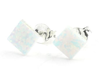 Sterling Silver Opal Earrings, Gemstone, Opal Stud Earrings, Small Diamond Earrings, Boho, Lab Opal Earrings, Gypsy, Ethnic Earrings
