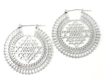 EXTRA LARGE Sri Yantra Earrings, Sacred Geometry, Geometric Earrings, Alchemy Earrings, Modern Earrings, Festival, Gypsy Earrings, Ethnic,