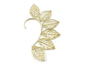 Brass Leaves Ear Wrap, Ear Cuff, Boho Jewelry, Tribal Ear Jewelry,  Festival Jewelry, Gypsy, Ethnic, Hippie Jewelry