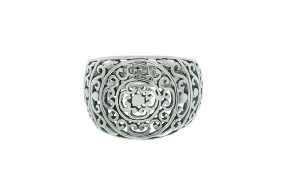 Sterling Silver Filigree Ring, Ornate Design Ring, Mandala Ring, Ethnic Ring, Wide Silver Ring,