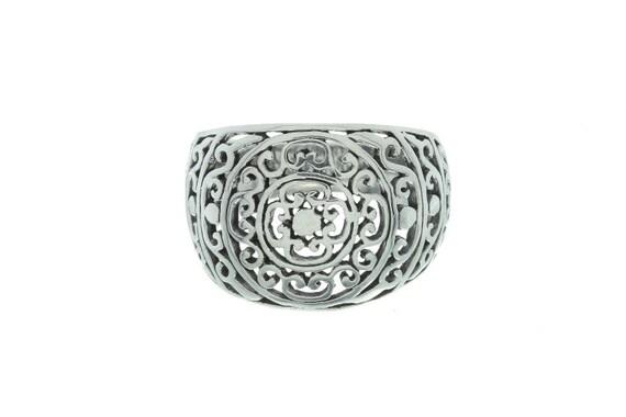Sterling Silver Filigree Ring, Ornate Design Ring, Mandala Ring, Ethnic Ring, Wide Silver Ring,