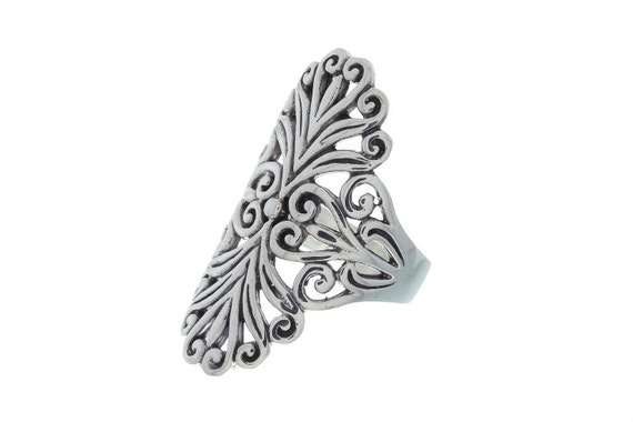 Sterling Silver Filigree Ring, Ornate Ring, Ethnic Ring, Large Sterling Silver Ring