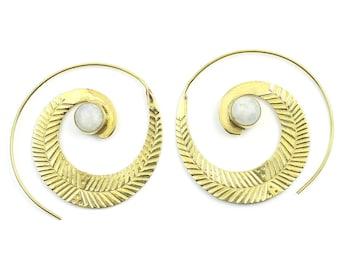 Feather Moonstone Earrings, Moonstone Spirals, Boho, Leaf Earrings, Gemstone Jewelry, Festival Earrings, Gypsy Earrings, Ethnic Earrings
