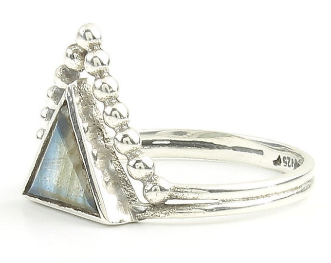 Featured listing image: Labradorite Magic Ring, Sterling Silver Labradorite Ring, Triangle labradorite, geometric Stone Jewelry, Gemstone, Crystals, Boho, Minimal