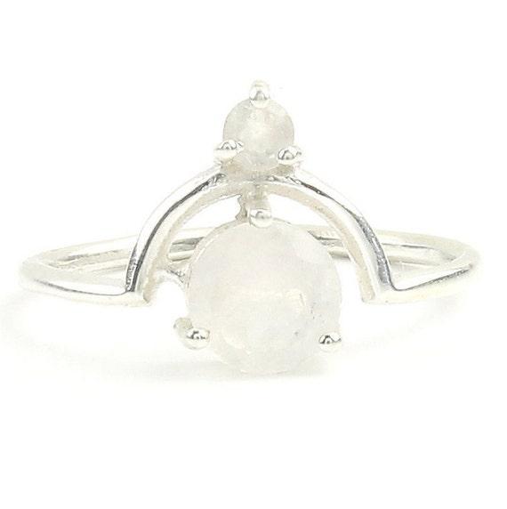 Tear Drop Moonstone Ring , Rainbow Moonstone Ring, Stone Jewelry, Cosmic, Gemstone, Boho, Gypsy, Wiccan, Hippie, Spiritual, Minimalist
