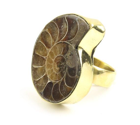 Ammonite Fossil Ring, Brass Ammonite Ring, Nautilus Shell, Nautical, Gemstone Ring, Boho Jewelry, Gypsy, Hippie Jewelry