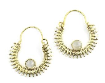 Dadu Mooonstone Earrings, Moonstone Earrings, Gemstone Jewelry, Mandala, Boho Jewelry, Festival Earrings, Gypsy Earrings, Ethnic Earrings