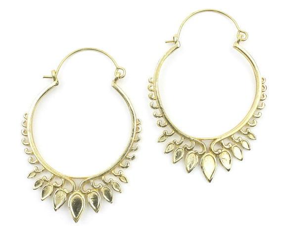 Girga Earrings, Ornate Ethnic Hoop Earrings, Tribal Brass Earrings, Festival Earrings, Gypsy Earrings, Hoop Earrings
