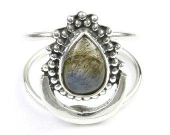 Northern Lights Ring, Sterling Silver Labradorite Ring, Moon Ring, Stone Jewelry, Cosmic, Gemstone, Boho, Gypsy, Wiccan, Hippie, Spiritual