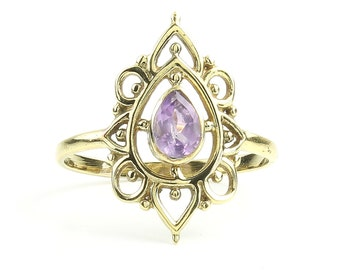 Amethyst Mandala Ring, Brass Ring, Meditation, Yoga Jewelry, Tribal, Ethnic Ring, Gypsy, Hippie Jewelry, Festival Jewelry