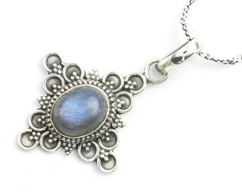 Eastern Dawn Sterling Silver Necklace, Labradorite Jewelry, Gemstone, Meditation, Spiritual, Boho, Gypsy, Festival