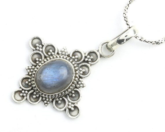 Eastern Dawn Sterling Silver Necklace, Labradorite Jewelry, Gemstone, Meditation, Spiritual, Boho, Gypsy, Festival