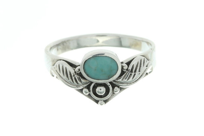 Bohemian Boho Gypsy Festival Jewelry Sterling Silver Feather Turquoise Ring