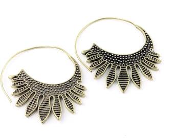 Cactus Flower Earrings, Boho, Bohemian, Brass, Festival, Gypsy, Ethnic Jewelry, Modern, Contemporary, Eclectic, Statement Earrings
