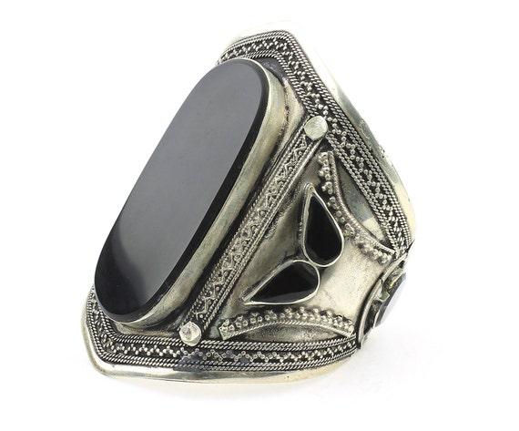 Black Onyx Cuff Bracelet, Afghani Arm Band, Vintage Bracelet, Middle Eastern, Festival, Tribal, Ethnic, BOHO, Gypsy, Gemstone Jewelry