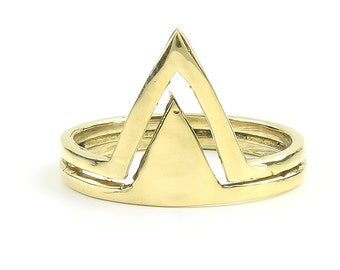 Haora Ring, Brass Triangle Ring, Geometric, Minimal Ring, Modern Ring, Festival Jewelry, Gypsy Jewelry, Boho