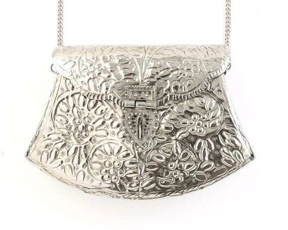 Suru Clutch, Ornate Silver bag, Metal Purse, Antique Bag, Gold Purse, Boho, Gypsy, Cigarette Case