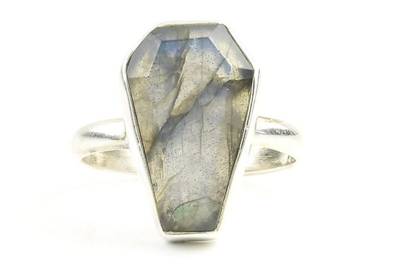 Labradorite Coffin Ring, , Casket Ring, Sterling Silver Labradorite Ring, Gemstone, Festival Jewelry, Boho, Wiccan, Gypsy, Hippie, Spiritual