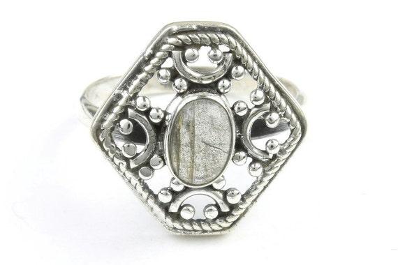 Aurora Ring, Sterling Silver Labradorite Ring, Stone Jewelry, Cosmic, Gemstone, Boho, Gypsy, Wiccan, Hippie, Spiritual