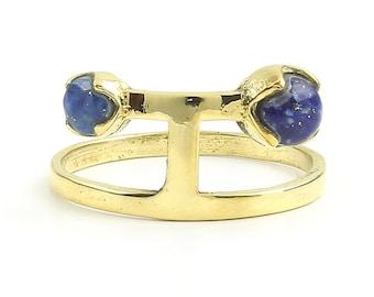 Loni Ring, Brass Lapis Ring, Lapis Lazuli, Geometric, Minimal Ring, Modern Ring, Festival Jewelry, Gypsy Jewelry, Boho