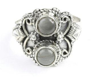 Rising Waters Ring, Sterling Silver Aquamarine Ring, Stone Jewelry, Ethnic, Gemstone, Boho, Gypsy, Wiccan, Hippie Jewelry, Spiritual