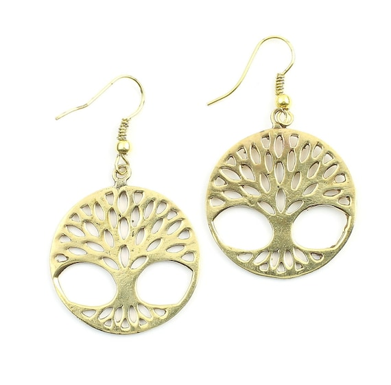 Tree of Life Earrings, Tree, Boho Earrings, Tribal Brass Earrings, Festival Jewelry, Gypsy Earrings, Ethnic, Yoga Earrings