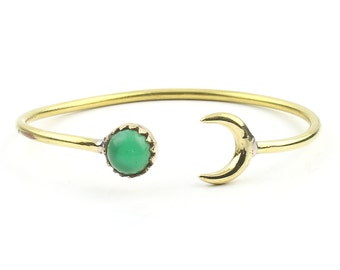 Moonstruck Brass Bracelet, Crescent Moon Bracelet, Green Chalcedony, Stone Bangle, Arm Cuff, Boho, Bohemian, Gypsy, Festival, Minimal