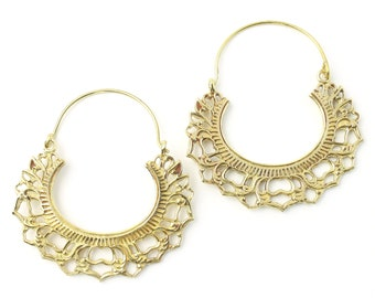 Sinop Earrings, Brass Hoop Earrings, Mandala Earrings, Tribal Earrings, Festival Jewelry, Gypsy Earrings, Ethnic, Yoga