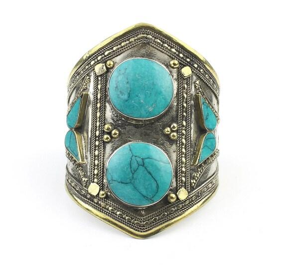 Turquoise Cuff Bracelet, Afghani Arm Band, Vintage Bracelet, Middle Eastern, Festival, Tribal, Ethnic, BOHO, Gypsy, Gemstone Jewelry