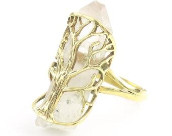 Tree Of Life Crystal Ring, Brass Quartz Ring, Raw Crystals, Stone Jewelry, Gemstone, Boho, Gypsy, Hippie Jewelry, Wiccan, Spiritual