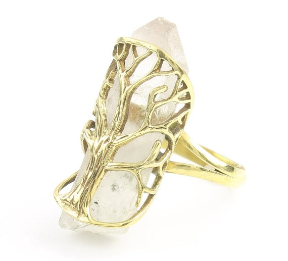 Tree Of Life Crystal Ring, Brass Quartz Ring, Raw Crystals, Stone Jewelry, Gemstone, Boho, Gypsy, Hippie Jewelry, Wiccan, Spiritual