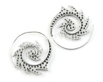 Spiral Tribal Earrings, Boho Jewelry, Tribal Earrings,  Festival Earrings, Gypsy Earrings, Ethnic Earrings, Hippie Jewelry