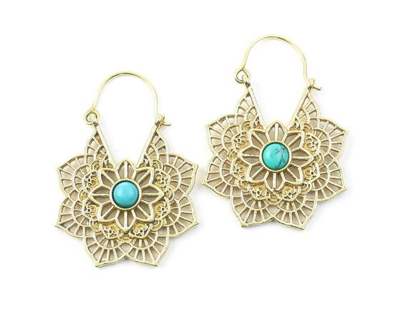 Turquoise Mandala Earrings, Silver Turquoise Earrings, Gemstone Jewelry, Mehndi,  Festival Earrings, Gypsy Earrings, Ethnic Earrings
