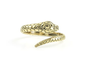 Snake Ring, Brass Wrap Ring, Serpent Ring, Wiccan, Festival Jewelry, Gypsy Jewelry, Boho