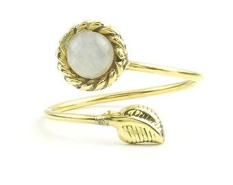 Leaf Ring, Moonstone Ring, Brass, Stone Jewelry, Cosmic, Gemstone, Boho, Gypsy, Wiccan, Hippie, Spiritual