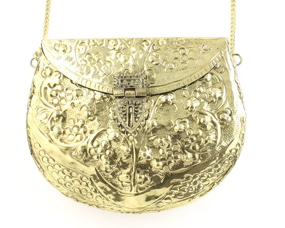Ranga Clutch, Ornate brass bag, Metal Purse, Antique Bag, Gold Purse, Boho, Gypsy, Cigarette Case