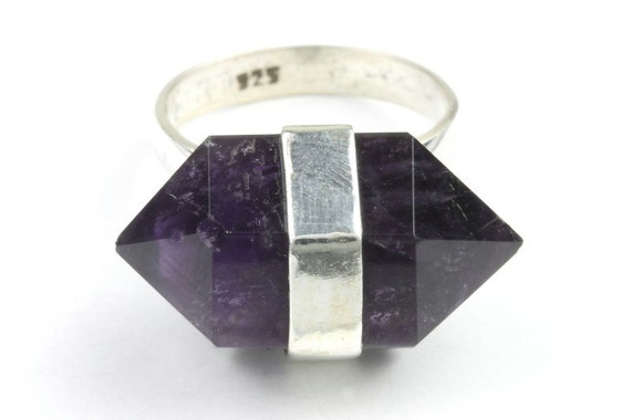 Amethyst Dazed Ring, Sterling Silver Ring, Stone Jewelry, Gemstone, Crystals, Boho, Gypsy, Hippie, Wiccan, Spiritual
