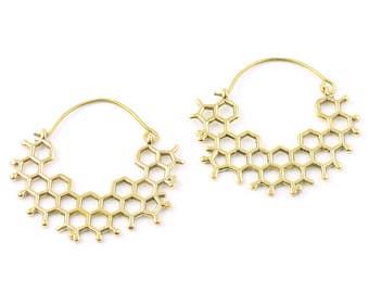 HoneyComb Earrings, Molecule Earrings, Boho, Bohemian, Festival, Gypsy, Ethnic Jewelry, Modern, Contemporary, Eclectic, Statement Earrings