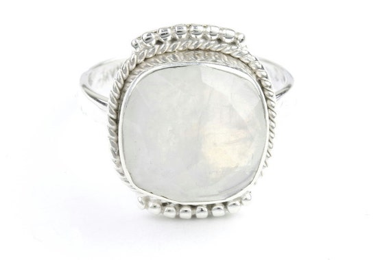 Princess Moon Ring, Sterling Silver Moonstone Ring, Facet Cut Stone Jewelry, Gemstone, Boho, Gypsy, Wiccan, Hippie, Spiritual