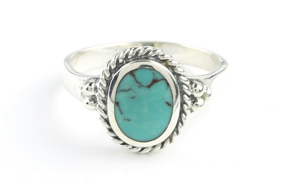 New Moon Turquoise Ring, Sterling Silver Turquoise ring, 925, Boho, Gypsy, Festival Jewelry, Gemstone, Southwestern Design