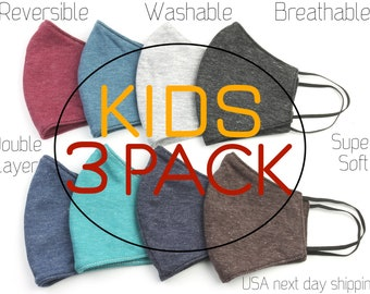 Kids Face Mask, 3 PACK Child, Washable, Reusable, Plain Color, Soft, Double layer, Face Cover, Cloth Mask, Solid Color, USA next day