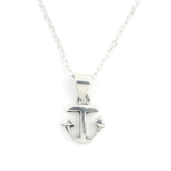 Small Sterling Silver Anchor Necklace, Nautical Jewelry, Minimal, Ocean, Sea, Boho, Gypsy, Festival Jewelry